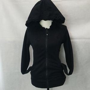 Lululemon Ruched Black Jacket Hoodie sz 6